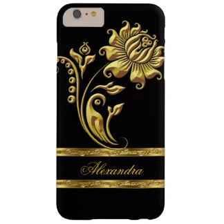 Flor elegante del negro y del oro funda de iPhone 6 plus barely there