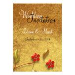 Flor elegante en la invitación del boda del oro vi