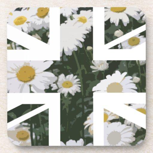 Flor elegante Union Jack Británicos (U de los cris Posavasos De Bebidas