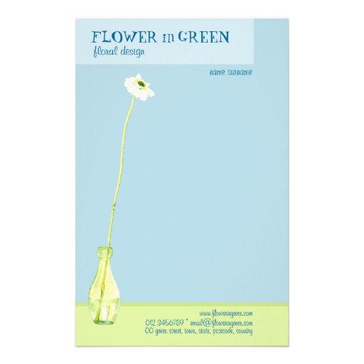 Flor en efectos de escritorio verdes personalized stationery