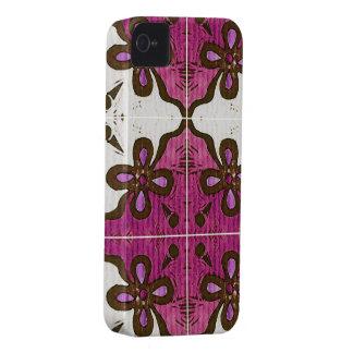 Flor en el rosa inspirado por el portugués Azulejo iPhone 4 Cárcasas