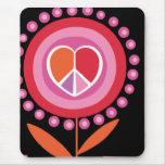 Flor en forma de corazón MousePad del signo de la  Tapete De Raton