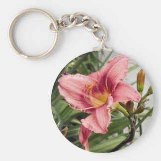 Flor en la acera llavero redondo tipo pin