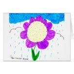 Flor en la lluvia tarjeton