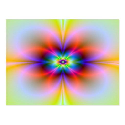 Flor en la postal de neón