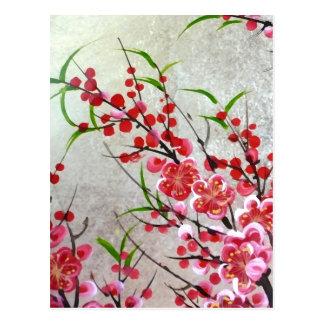 Flor en oro postales