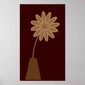Flor enrrollada del dibujo animado de Brown en lon Póster