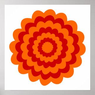 Flor enrrollada en anaranjado y rojo póster