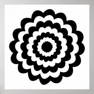 Flor enrrollada en blanco y negro. posters