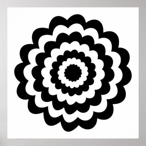 Flor enrrollada en blanco y negro. póster