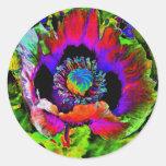 Flor enrrollada pegatinas redondas