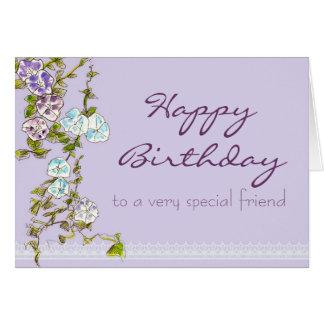 Flor especial de la correhuela del amigo del feliz tarjeta de felicitación