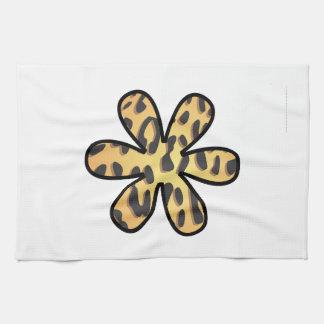 Flor, estampado de animales, guepardo manchado - a toalla de cocina
