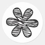 Flor, estampado de animales, rayas de la cebra - etiquetas redondas
