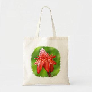 Flor exótica color de rosa del Caribe roja Bolsa Tela Barata