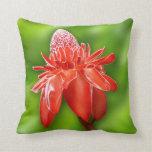 Flor exótica color de rosa del Caribe roja Cojin