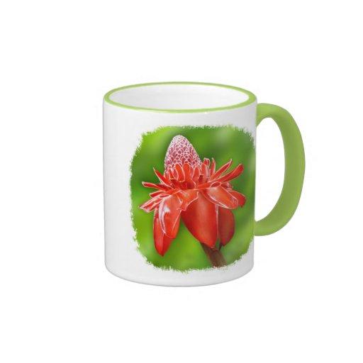 Flor exótica color de rosa del Caribe roja Tazas De Café