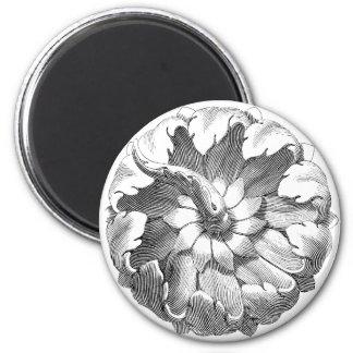 Flor exótica moderna del vintage imán redondo 5 cm