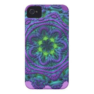 Flor extranjera de la púrpura del rosa del arte iPhone 4 carcasas