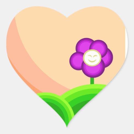 Flor feliz calcomanía de corazón personalizadas