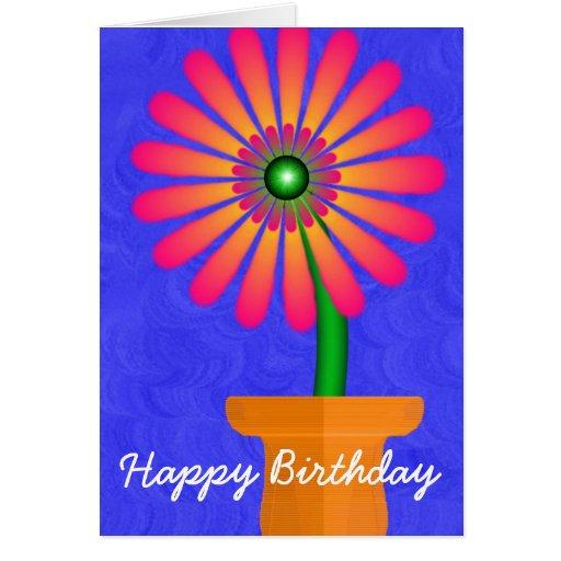 Flor, feliz cumpleaños tarjeta de felicitación
