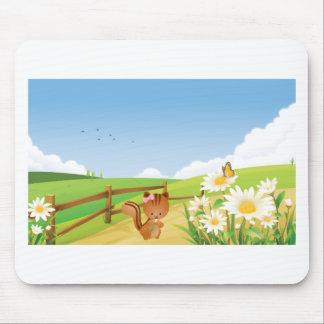 Flor feliz de la naturaleza del cielo azul del ver tapetes de ratón