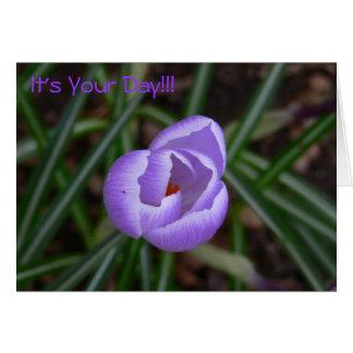 Flor feliz del Cumpleaños-azafrán Tarjeta De Felicitación
