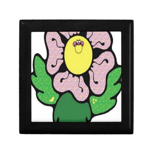 Flor feliz del dibujo animado cajas de recuerdo