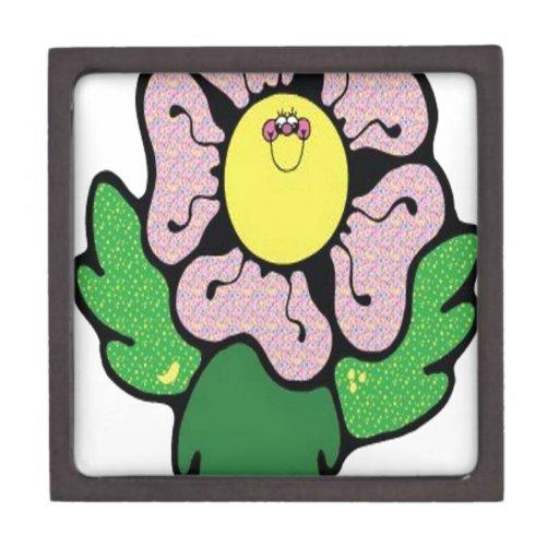 Flor feliz del dibujo animado cajas de recuerdo de calidad