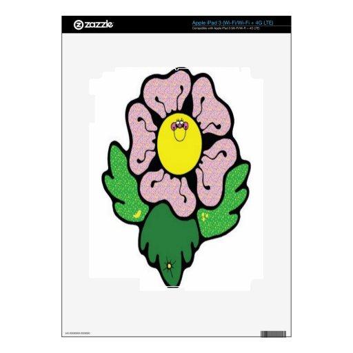 Flor feliz del dibujo animado iPad 3 skins