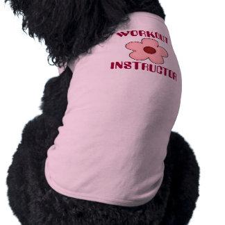Flor femenina linda del rosa del perro del instruc playera sin mangas para perro