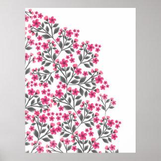Flor floral de la pintura femenina linda de las póster