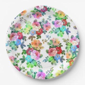 Flor floral de las acuarelas de los rosas plato de papel de 9 pulgadas