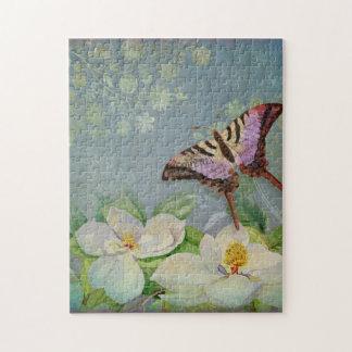 Flor floral moderno de la flor de la magnolia de l rompecabezas con fotos