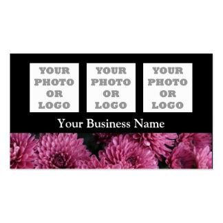 Flor floral rosada bonita en negro tarjetas de visita