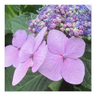 """Flor floreciente púrpura del Hydrangea Invitación 5.25"""" X 5.25"""""""