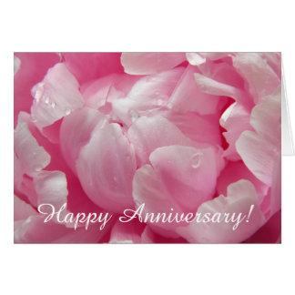 Flor floreciente romántica rosada del peony con felicitación