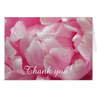 Flor floreciente romántica rosada del peony con tarjeta