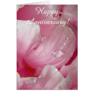 Flor floreciente romántica rosada del peony con tarjetón