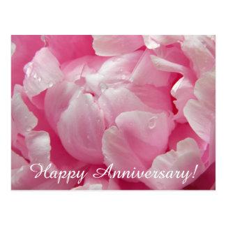 Flor floreciente romántica rosada del peony con postal