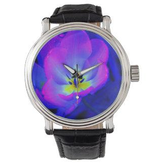 Flor fluorescente relojes de mano
