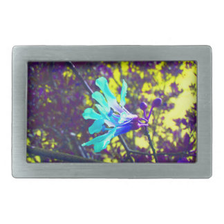 flor fresca del cielo amarillo púrpura de la orquí hebilla de cinturón rectangular