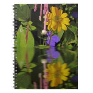 Flor fucsia en la reflexión libros de apuntes