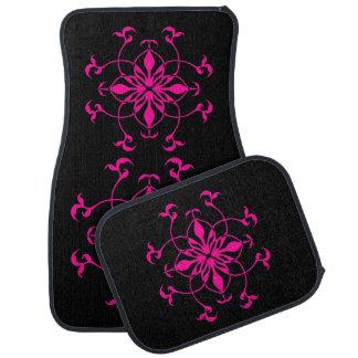 Flor geométrica en rosas fuertes y negro alfombrilla de coche