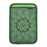 Flor geométrica verde fundas para iPad mini