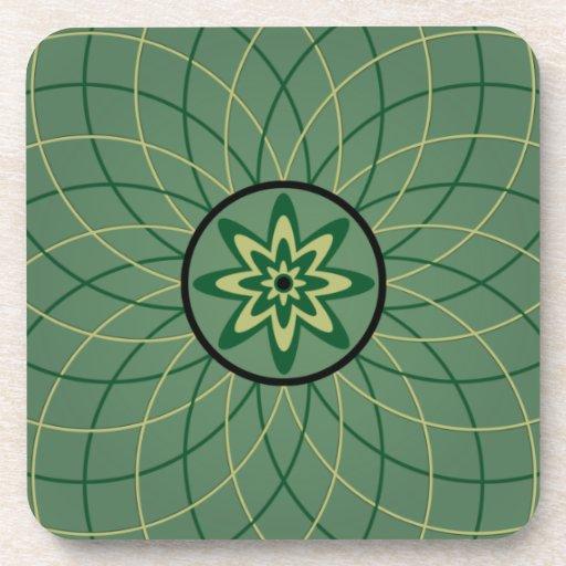 Flor geométrica verde posavaso
