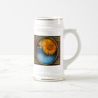 Flor - girasol - poca sol azul jarra de cerveza