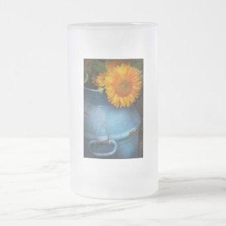 Flor - girasol - poca sol azul taza de cristal