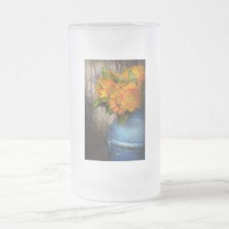 Flor - girasol - sol del país taza de cristal