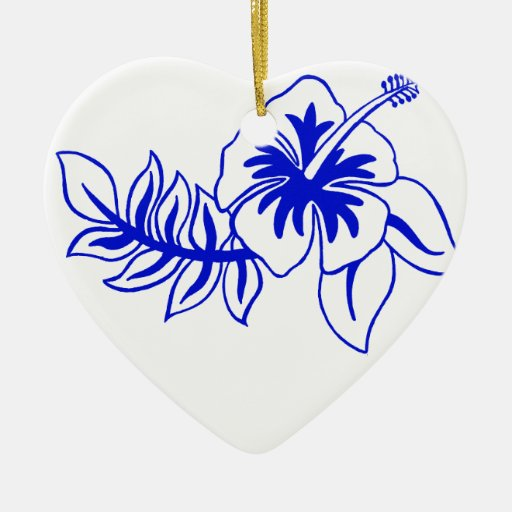 Flor hawaiana azul del hibisco adornos